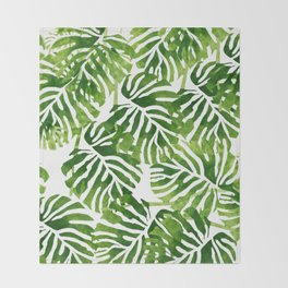 Tropical Leaves - Green Throw Blanket