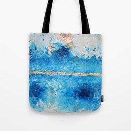 Rainy Day: a pretty minimal abstract mixed media piece in blue & gold by Alyssa Hamilton Art Tote Bag