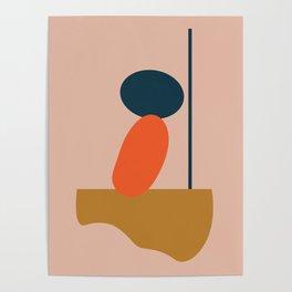 Abstract #1 Orange Blue Beige Poster