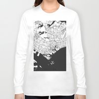 singapore Long Sleeve T-shirts featuring Singapore Map Gray by City Art Posters