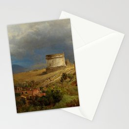 Via Appia with the Tomb of Caecilia Metella in Roman Italian Countryside by Oswald Achenbach Stationery Cards