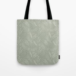 Pastel green white hand painted leaves polka dots pattern Tote Bag