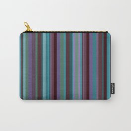 Retro Stripe in Blueberries and Orchids Carry-All Pouch