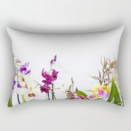 Different orchid plants on white background Rectangular Pillow