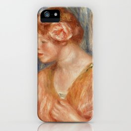 Young Woman with Rose (Jeune fille à la rose) (1917) by Pierre-Auguste Renoir. iPhone Case