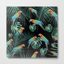 Parrots in the Tropical Jungle Night #2 #tropical #decor #art #society6 Metal Print