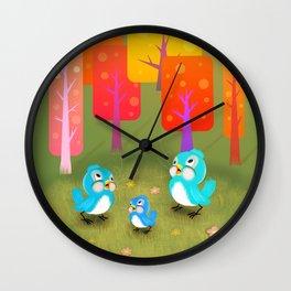 Happy Little Bluebirds Sing Their Song Wall Clock