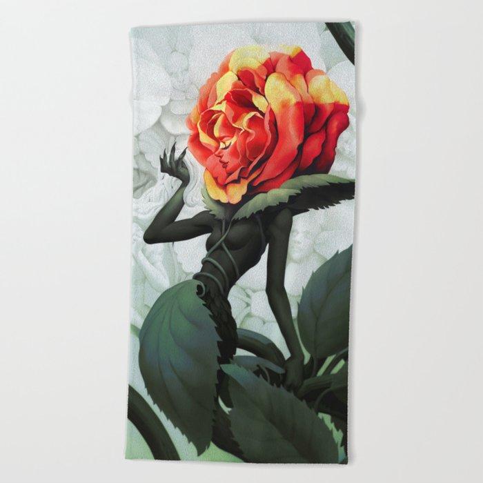 Alice in Wonderland Rose Beach Towel