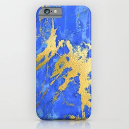 Sapphire and Royal Blue Marble With Gold Veins iPhone Case