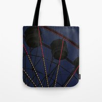 ferris wheel Tote Bags featuring Ferris Wheel  by Yellow Tie