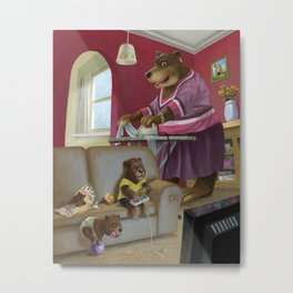 cartoon bear family in their home front room watching tv Metal Print