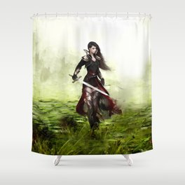 Lady knight - Warrior girl with sword concept art Shower Curtain