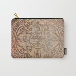 Antic Chinese Coin on Distressed Metallic Background Carry-All Pouch