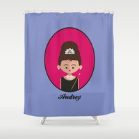 audrey hepburn Shower Curtains featuring Audrey Hepburn by Juliana Motzko