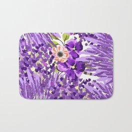Lilac violet lavender lime green floral illustration Bath Mat