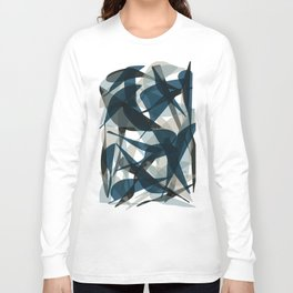 Abstract Whale Monotone Long Sleeve T-shirt