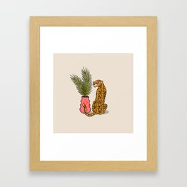 Cheetah & Plant Framed Art Print