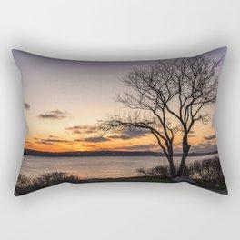Tree silhouette at sunset Rectangular Pillow