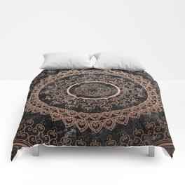 Mandala - rose gold and black marble Comforters
