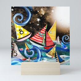 Night Sailing - Aurora Art Moonlight Stars Night Mini Art Print