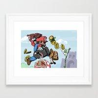 super mario Framed Art Prints featuring Super Mario by Sharkeye Jones