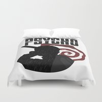 psycho Duvet Covers featuring Psycho by Vickn