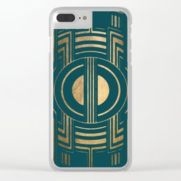 Art Deco Unfinished Love In Teal Clear iPhone Case