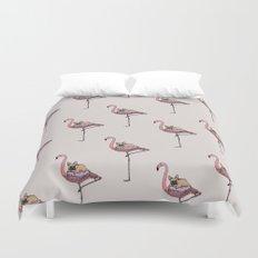 Flamingo and French Bulldog Duvet Cover