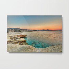 Sunset at the beach of Mitakas in Milos, Greece Metal Print