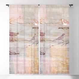 Golden Pink Birds Blackout Curtain