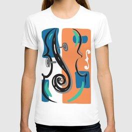Scroll Pride - violin viola cello love - orange and teal T-shirt