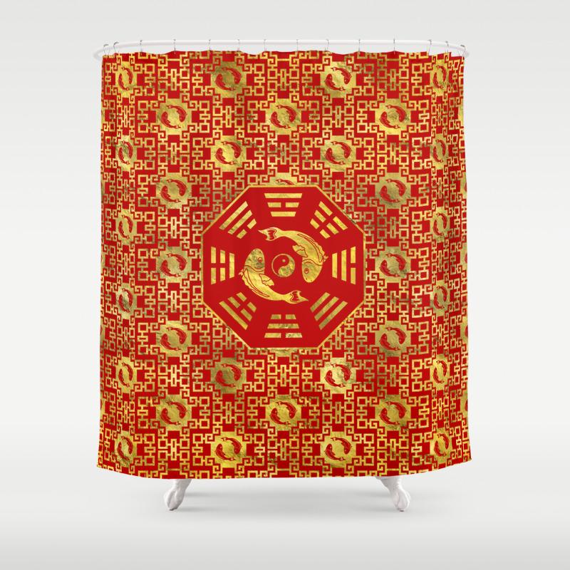 Luxury Oriental Red On Black Pair Of Koi Fish In Bagua Shower Curtain