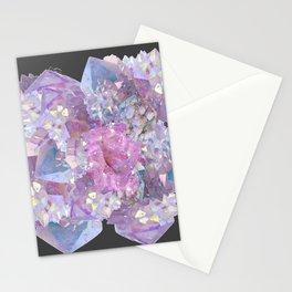 ROSE & PURPLE QUARTZ CRYSTALS MINERAL SPECIMEN Stationery Cards