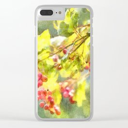 Winter Berries Watercolor Clear iPhone Case