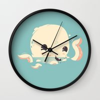 discount Wall Clocks featuring Adorable Octopus Battle by Ryder Doty