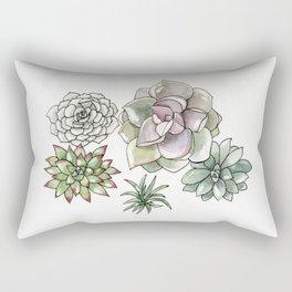 Succulents Watercolor Rectangular Pillow