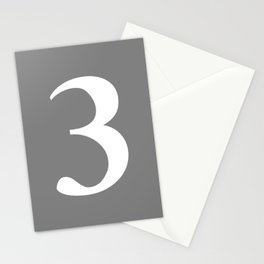 3 (WHITE & GRAY NUMBERS) Stationery Cards