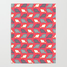 Cute cat pattern in pink Poster