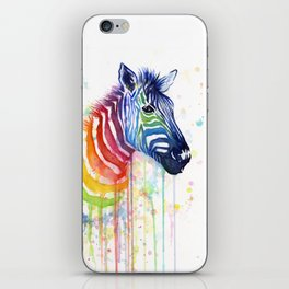 Zebra Rainbow Watercolor Whimsical Animal iPhone Skin