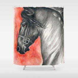 Friesian Stallion Shower Curtain