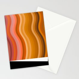 Groovy Wavy Lines in Retro 70s Colors Stationery Cards