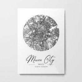 Mexico City Area City Map, Mexico City Circle City Maps Print, Mexico City Black Water City Maps Metal Print