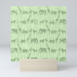 Distressed Jungle Theme Animal Safari Green Elephants Lions Giraffes Rhinos on Stripes Mini Art Print
