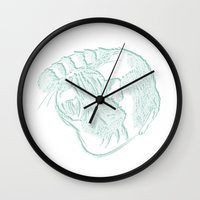 tom selleck Wall Clocks featuring Tom by Eagle Grapholic