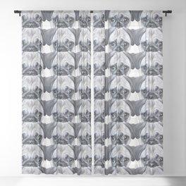 pug Dog illustration original painting print Sheer Curtain