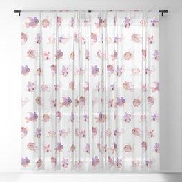 Ribbon corydoras Sheer Curtain