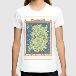 Vintage Map Print - 1924 fantasy pictorial map - Pirate Island T-shirt