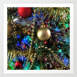 Christmas Tree Garlands And Ornaments Art Print