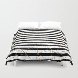 Gold Geometric Pattern Black and White Stripes Duvet Cover