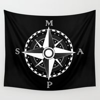 compass Wall Tapestries featuring Compass by Addy Does